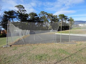 Asphalt sports court before